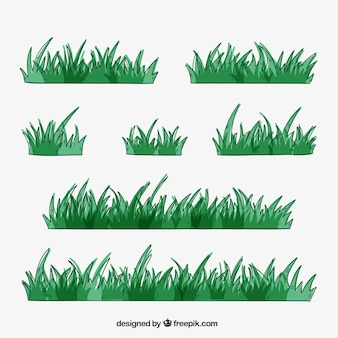 Pack of grass borders in green tones