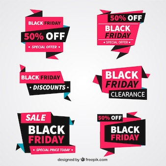 Pack of great geometric labels of black friday