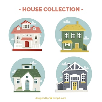 Pack of great houses with round backgrounds