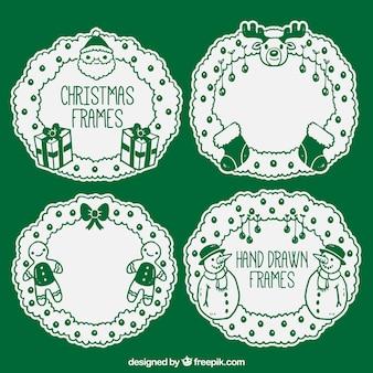 Pack of green christmas frames