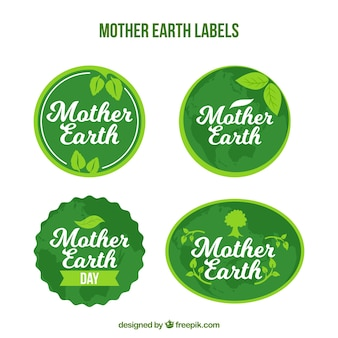 Pack of green earth day stickers