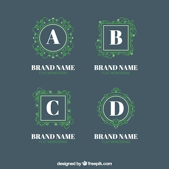 Pack of green monograms logos