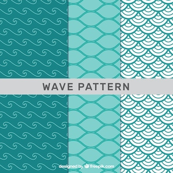 Pack of green wave patterns