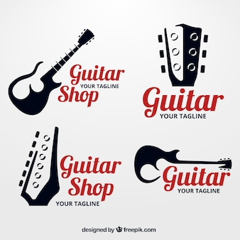 Pack of guitar logos with silhouettes
