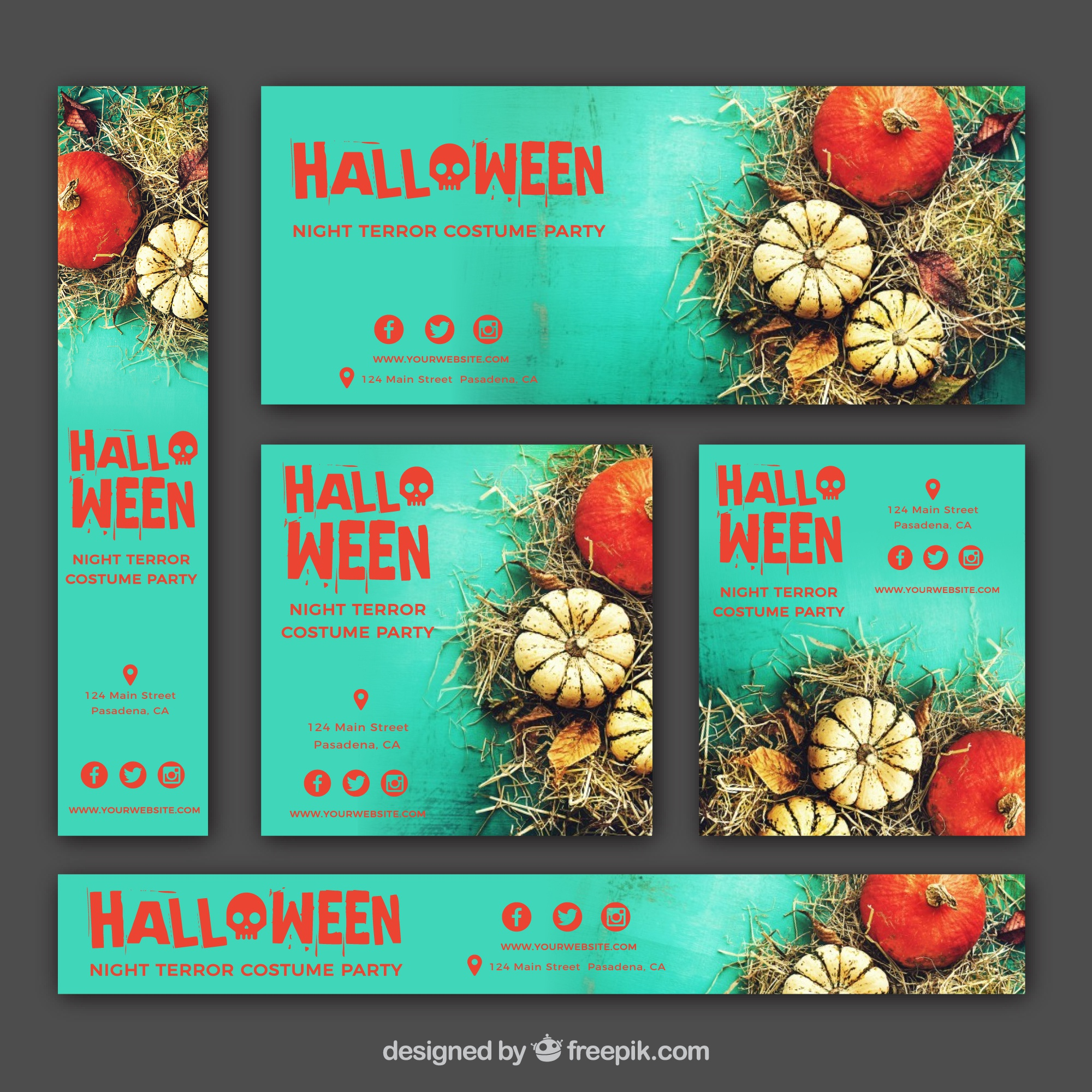 Pack of halloween banners