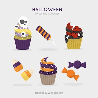Pack of halloween candies and cupcakes