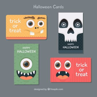 Pack of halloween cards with fun faces