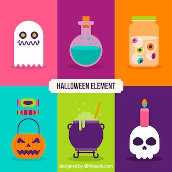 Pack of halloween flat elements