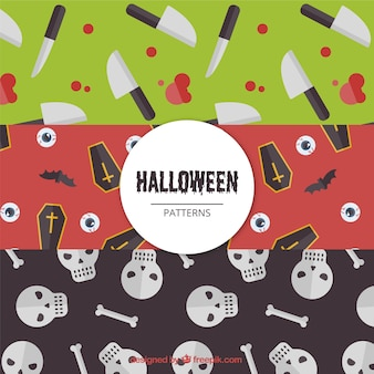 Pack of halloween patterns with creepy elements
