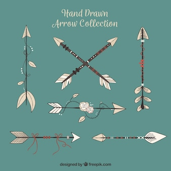 Pack of hand drawn arrows in ethnic style