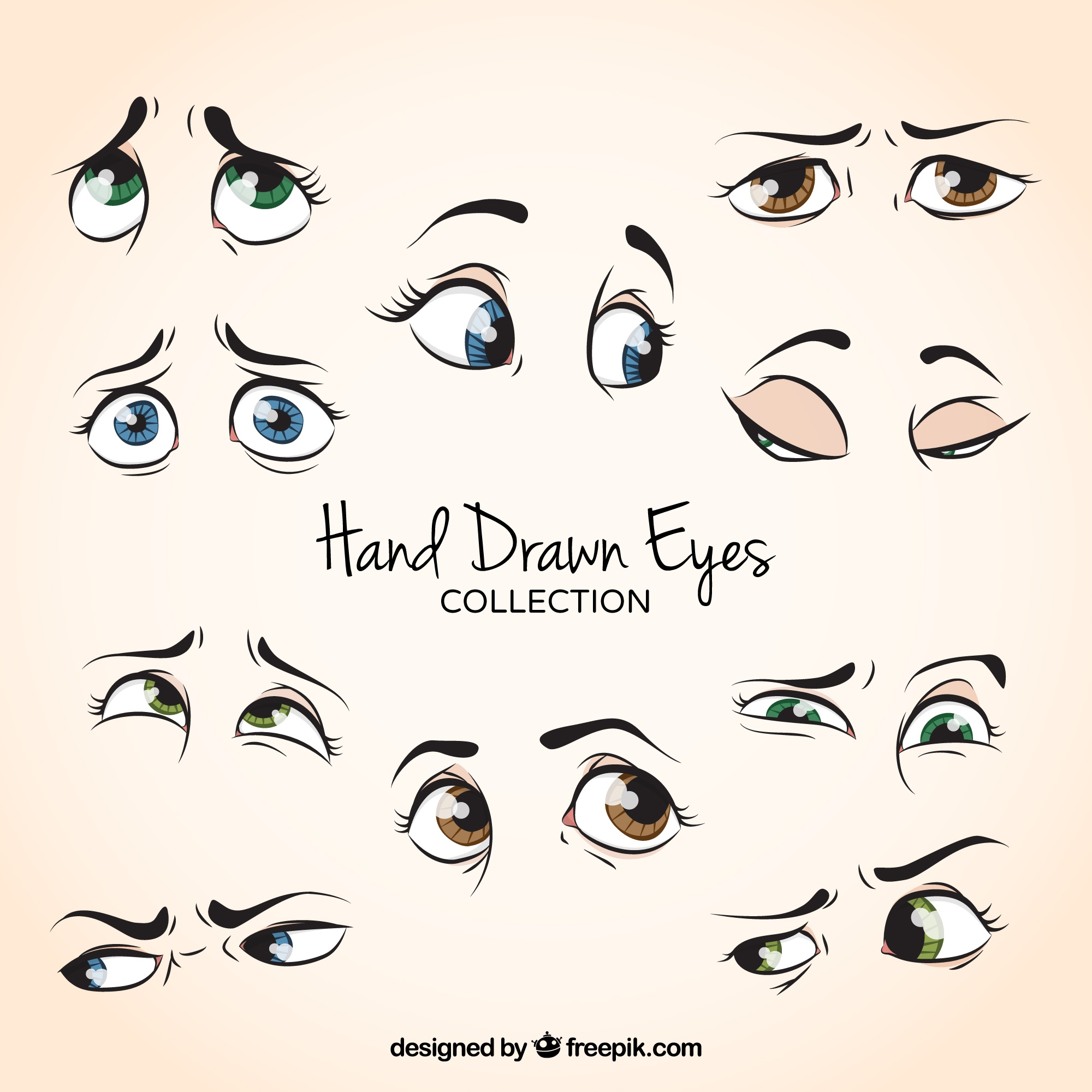 Pack of hand drawn beautiful eyes