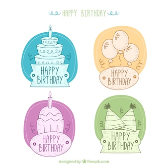 Pack of hand-drawn birthday stickers