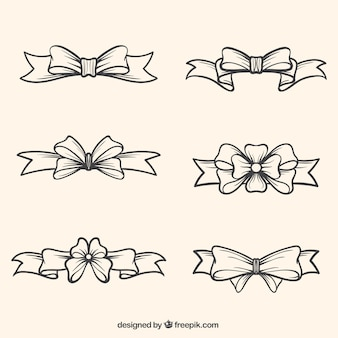 Pack of hand drawn bows