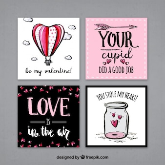 Pack of hand drawn cards with love messages