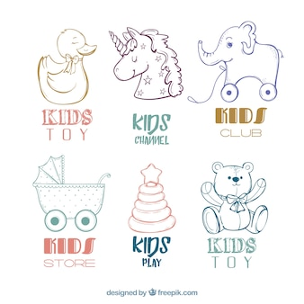 Pack of hand drawn children's logos