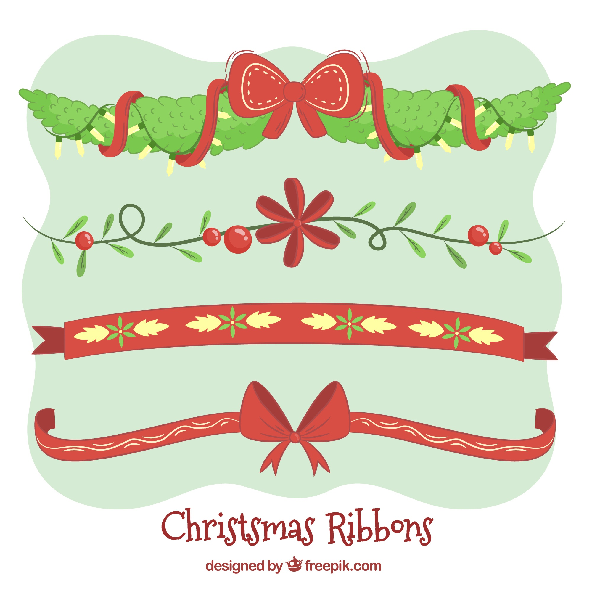 Pack of hand drawn christmas decorative ribbons