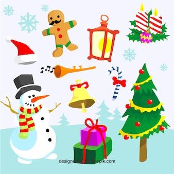 手のパックは、クリスマスの要素を描いた