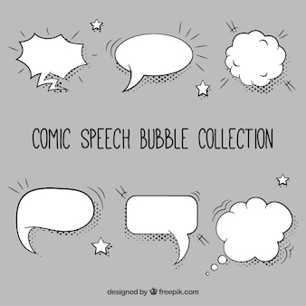 Pack of hand-drawn comic speech bubbles