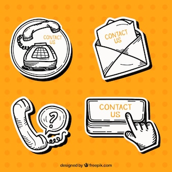 Pack of hand-drawn contact stickers