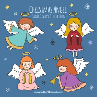 Pack of hand drawn cute angels