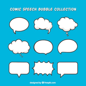 Pack of hand drawn dialog balloons