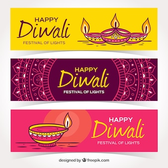 Pack of hand drawn diwali banners