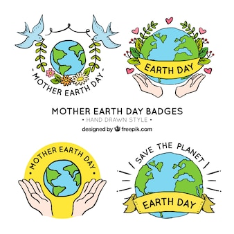 Pack of hand drawn earth badges