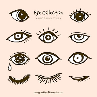 Pack of hand drawn eyes