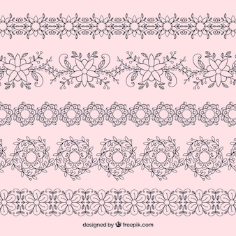 Pack of hand drawn floral borders