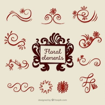 Pack of hand-drawn floral decorations