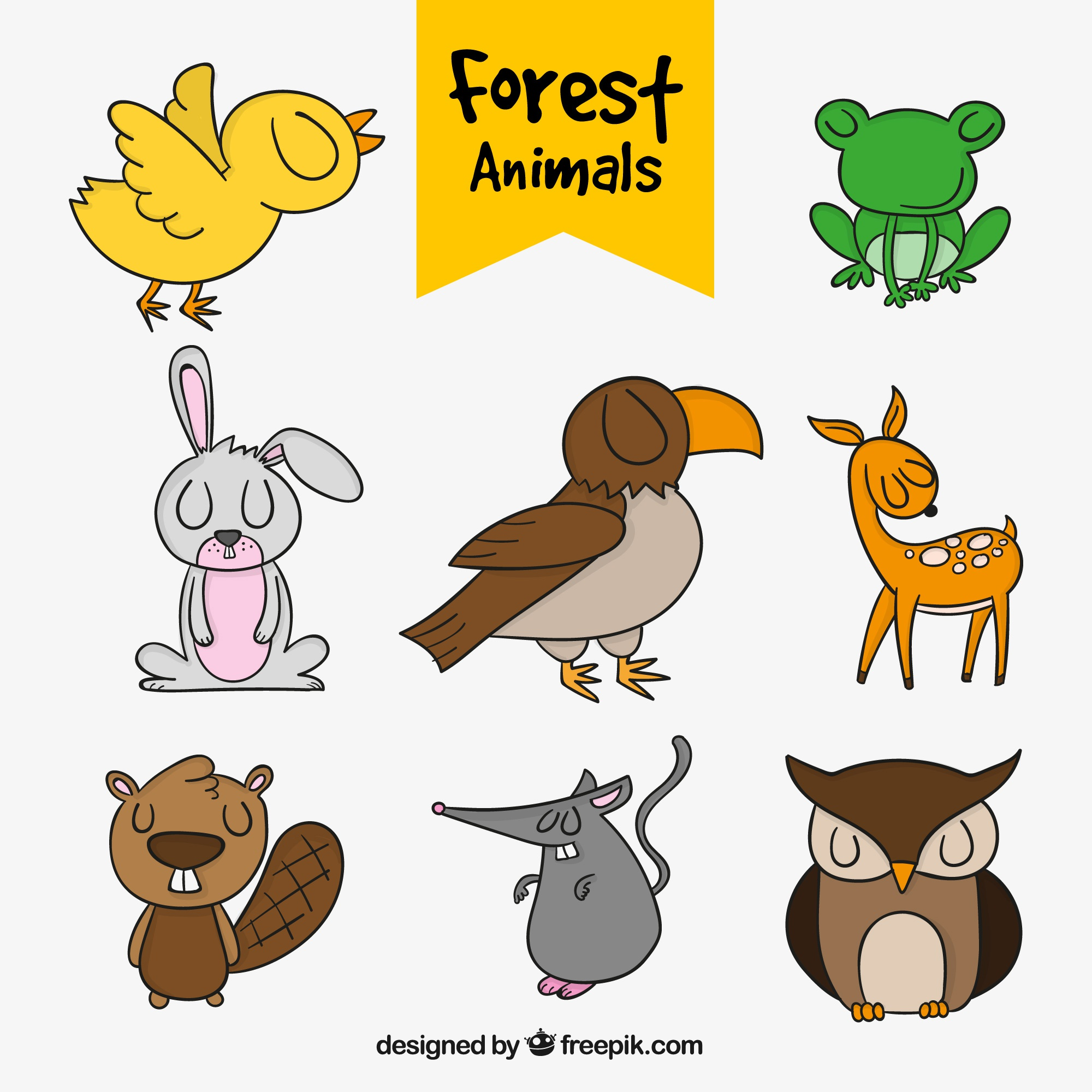 Pack of hand-drawn forest animals