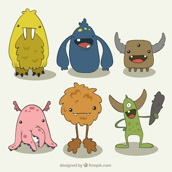 Pack of hand-drawn funny monsters