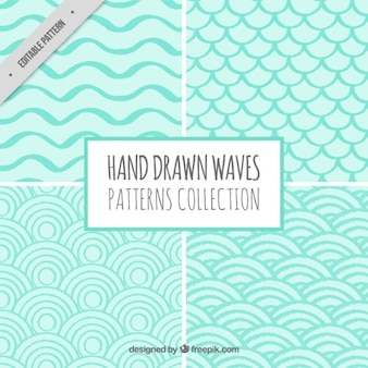 Pack of hand-drawn geometric waves