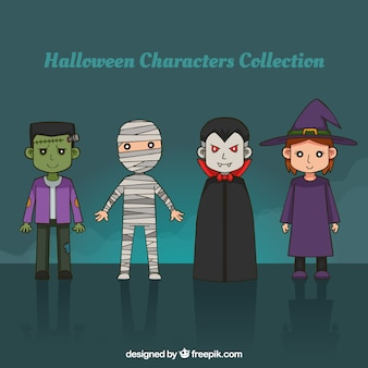 Pack of hand drawn halloween characters