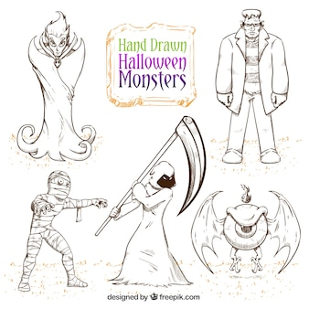 Pack of hand-drawn halloween monsters