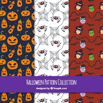 Pack of hand drawn halloween party patterns