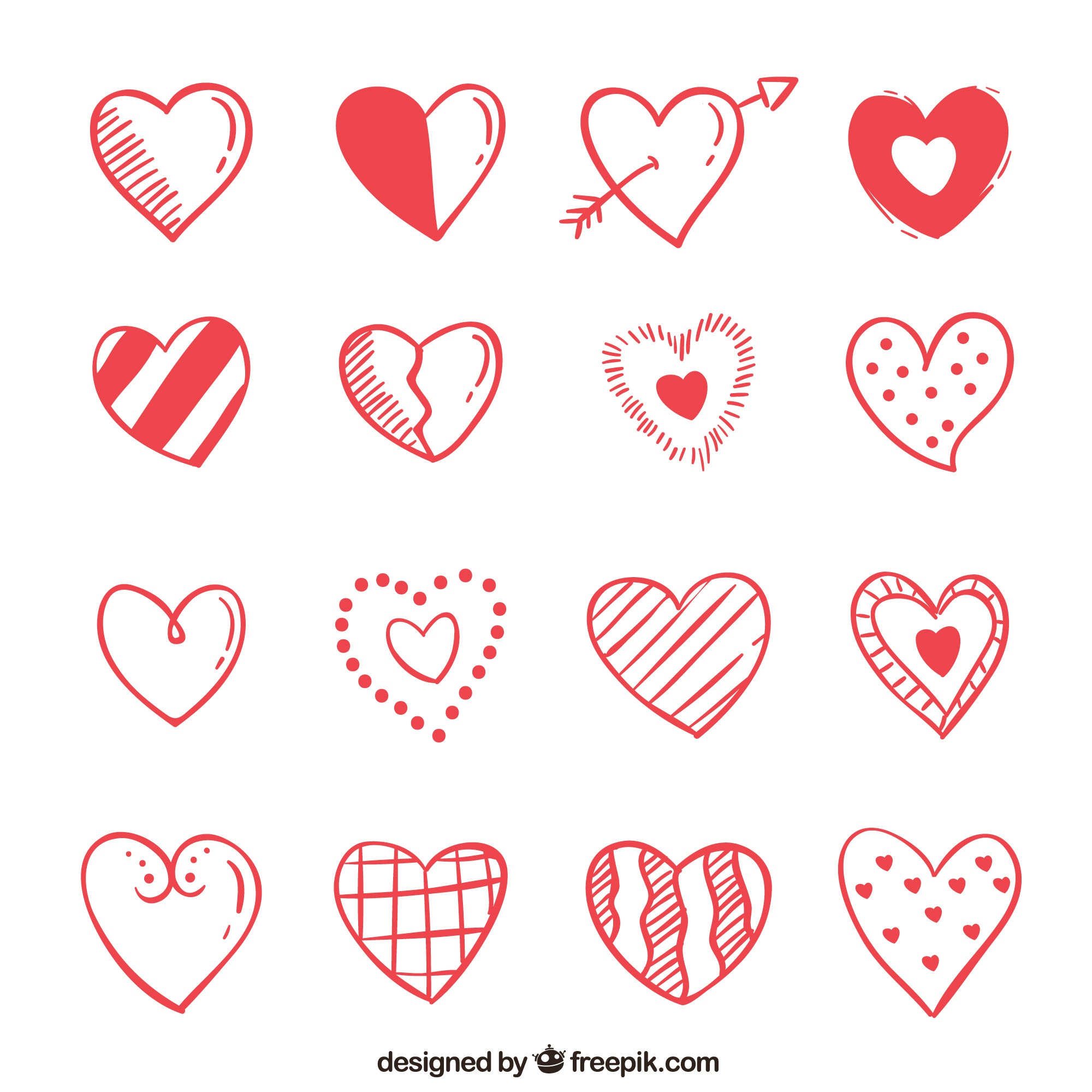 Pack of hand drawn hearts red