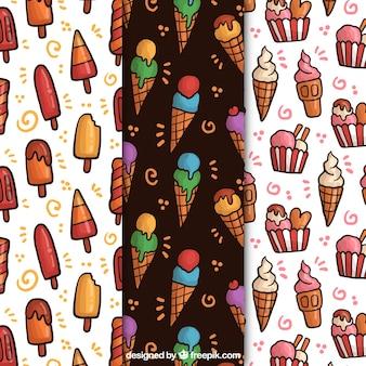手描きのアイスクリームのパターンのパック