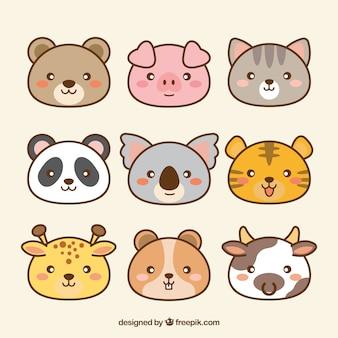 Pack of hand drawn kawaii animals