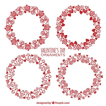 Pack of hand drawn love wreaths