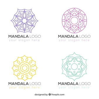 Pack of hand drawn mandalas logos