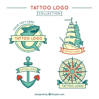 Pack of hand drawn marine tattoos logos
