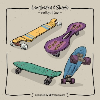 Pack of hand drawn modern skateboards