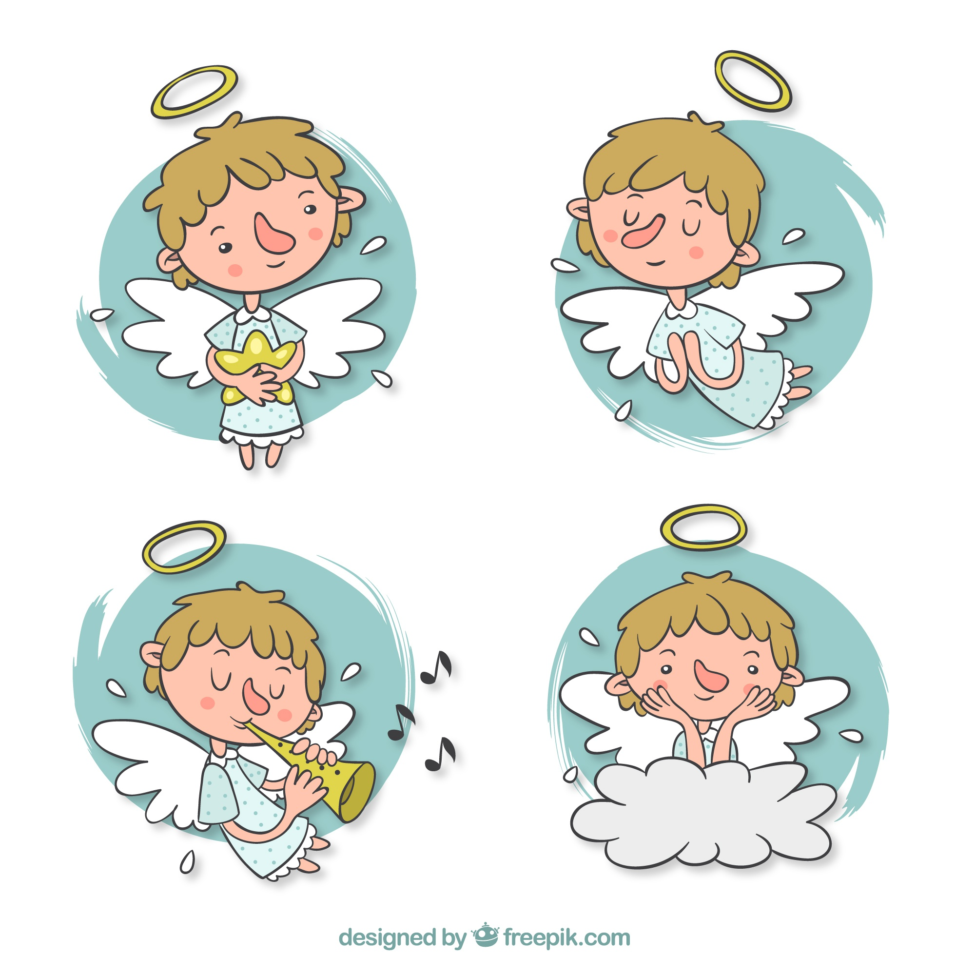 Pack of hand drawn nice angels