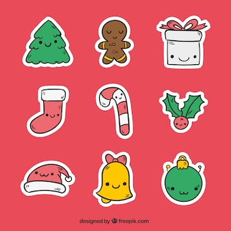 Pack of hand drawn nice christmas stickers with faces
