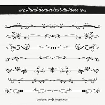 Pack of hand drawn ornamental borders
