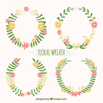 Pack of hand-drawn ornamental floral wreath