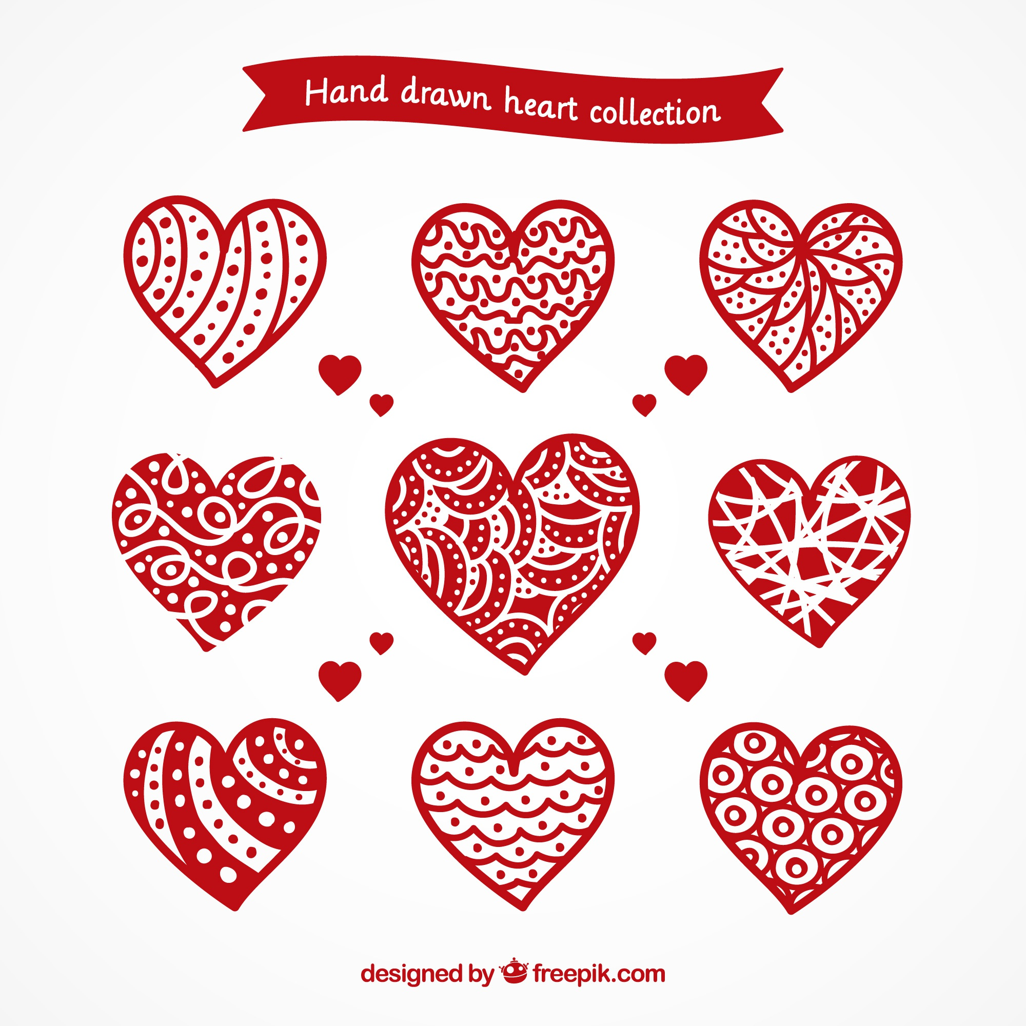 Pack of hand drawn ornamental hearts