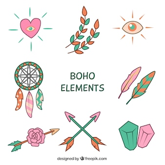 Pack of hand-drawn ornaments in boho style