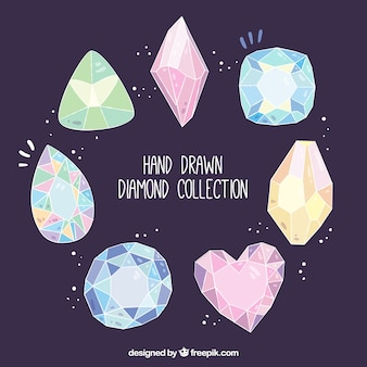 Pack of hand-drawn precious gems